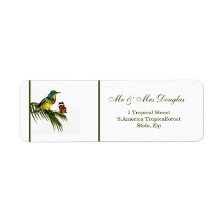 Hummingbird and butterfly label