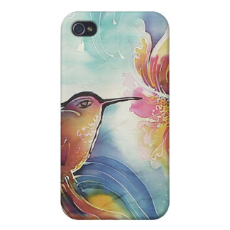 HummingBird and Flower Silk Art Painting Cases For iPhone 4