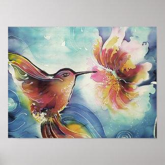 HummingBird and Flower Silk Art Painting Poster