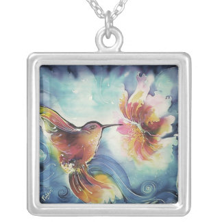 HummingBird and Flower Silk Art Painting Square Pendant Necklace