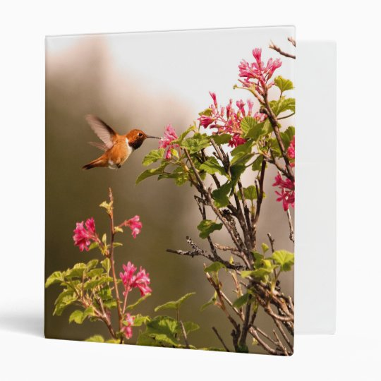 Hummingbird and Flowers 3 Ring Binder
