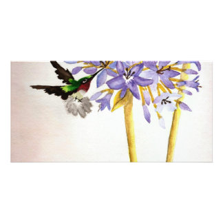Hummingbird and Flowers Card