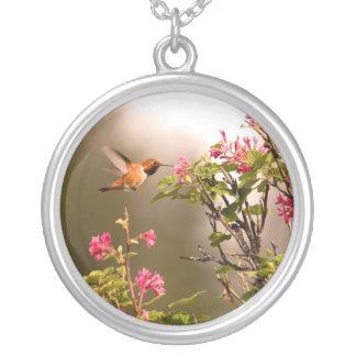 Hummingbird and Flowers Custom Necklace