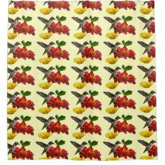 Hummingbird and Flowers Floral Bird Shower Curtain