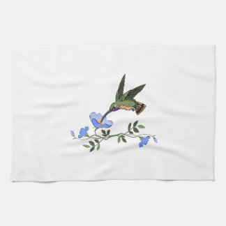 HUMMINGBIRD AND FLOWERS KITCHEN TOWELS