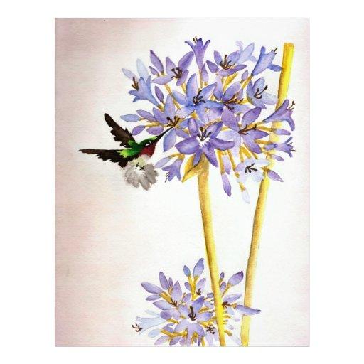 Hummingbird and Flowers Letterhead