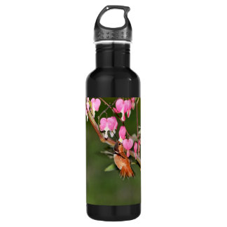 Hummingbird and Flowers Picture Stainless Steel Water Bottle