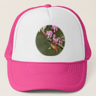 Hummingbird and Flowers Picture Trucker Hat