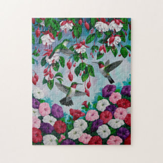 Hummingbird and Flowers Jigsaw Puzzles