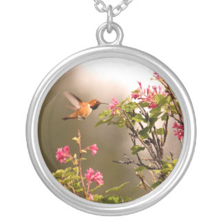 Hummingbird and Flowers Round Pendant Necklace