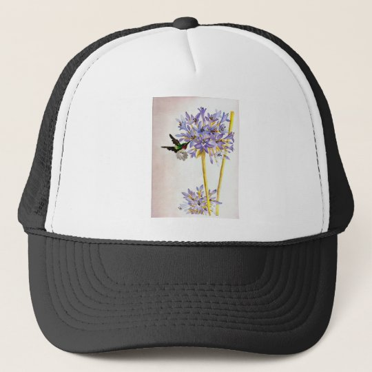 Hummingbird and Flowers Trucker Hat