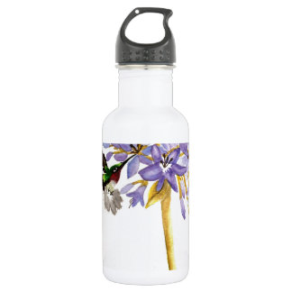 Hummingbird and Flowers Water Bottle