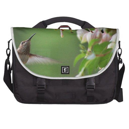 Hummingbird and Fushia Plant Bags For Laptop