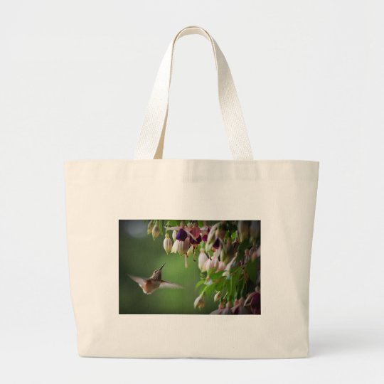 Hummingbird and Fushia Plant Large Tote Bag