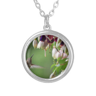Hummingbird and Fushia Plant Silver Plated Necklace