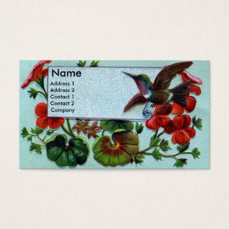 Hummingbird and Geraniums Victorian Business Card