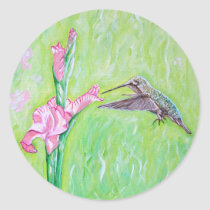 Hummingbird and Gladioli Classic Round Sticker