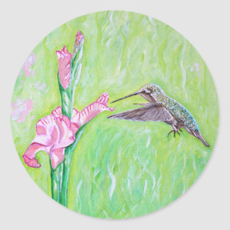 Hummingbird and Gladioli Classic Round Sticker