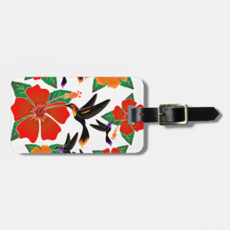 Hummingbird and Hibiscus Batik Luggage Tags