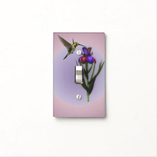 Hummingbird And Iris Flower Animal Light Switch Cover