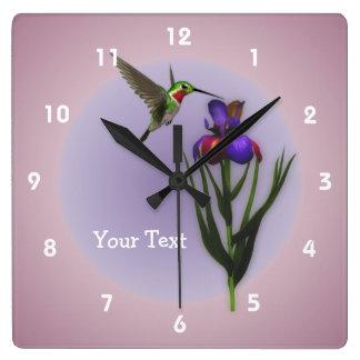 Hummingbird And Iris Flower Animal Wallclocks