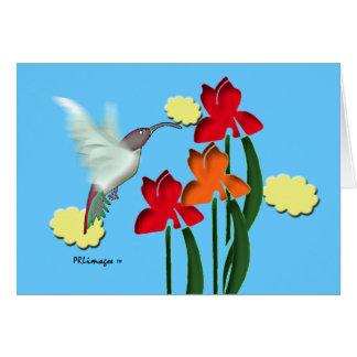 Hummingbird and Irises Greeting Card