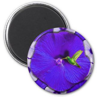 Hummingbird and Lavender Hibiscus 2 Inch Round Magnet