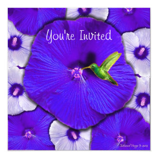 Hummingbird and Lavender Hibiscus Card