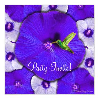Hummingbird and Lavender Hibiscus Card