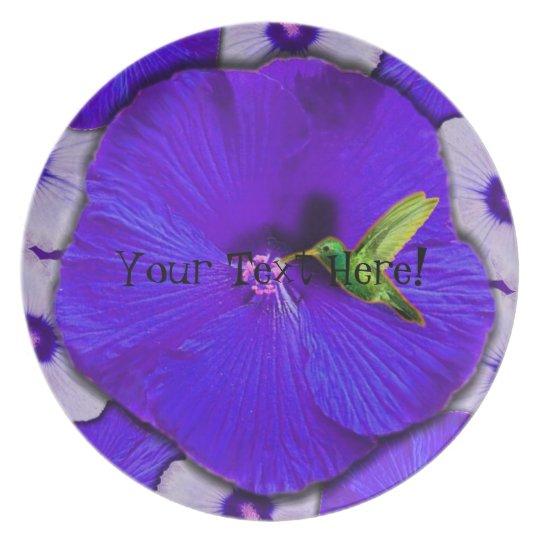 Hummingbird and Lavender Hibiscus Plate
