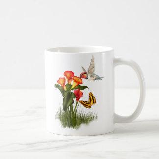 Hummingbird and lilies mug