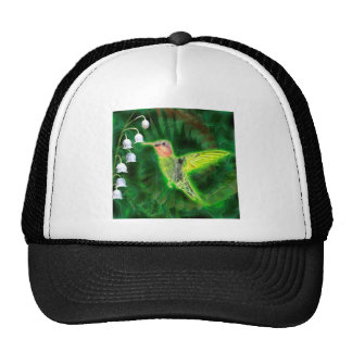 Hummingbird and Lily Fractal Trucker Hat