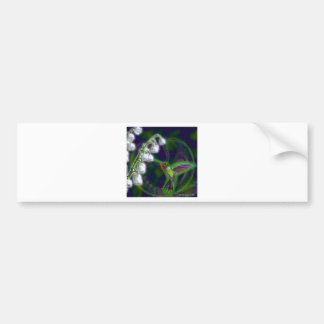 Hummingbird and Lily of the Valley Flowers Bumper Sticker