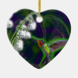 Hummingbird and Lily of the Valley Flowers Double-Sided Heart Ceramic Christmas Ornament