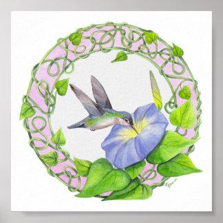 Hummingbird and Morning Glory Vine Wreath Poster