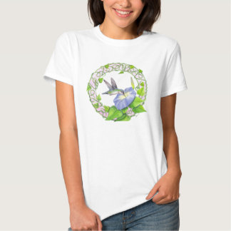 Hummingbird and Morning Glory Wreath T-Shirt