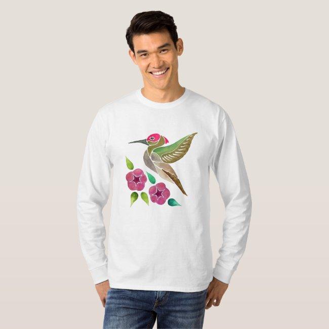 Hummingbird and Petunia Abstract Painting