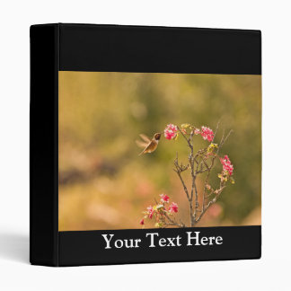 Hummingbird and Pink Flowers 3 Ring Binder