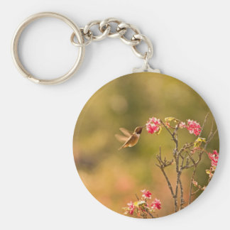 Hummingbird and Pink Flowers Basic Round Button Keychain