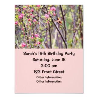 "Hummingbird and Pink Flowers 4.25"" X 5.5"" Invitation Card"