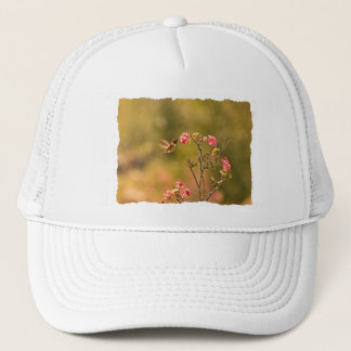Hummingbird and Pink Flowers Trucker Hat