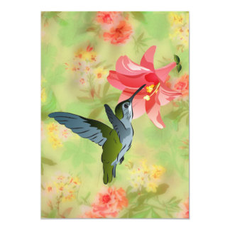 Hummingbird and Pink Lily on Floral Pattern Card