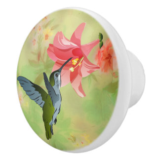 Hummingbird and Pink Lily on Floral Pattern Ceramic Knob