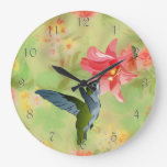 Hummingbird and Pink Lily on Floral Pattern Clocks