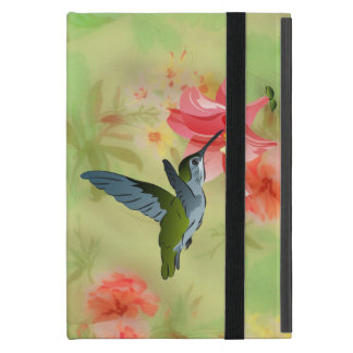 Hummingbird and Pink Lily on Floral Pattern Cover For iPad Mini