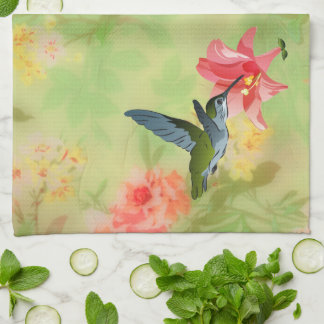 Hummingbird and Pink Lily on Floral Pattern Hand Towel