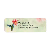 Hummingbird and Pink Lily on Floral Pattern Label