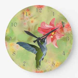 Hummingbird and Pink Lily on Floral Pattern Large Clock