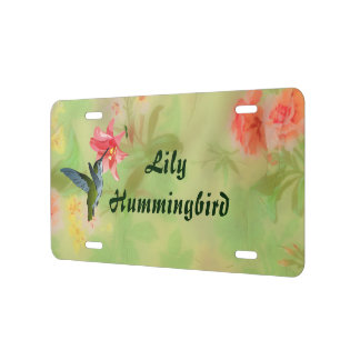 Hummingbird and Pink Lily on Floral Pattern License Plate