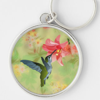 Hummingbird and Pink Lily on Floral Pattern Silver-Colored Round Keychain